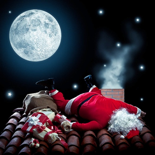 Nasty Santa Claus drunk and fall down
